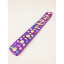 Lac Incense Holder, violet, with flowers golden