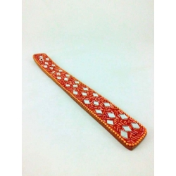 Lac Incense Holder, orange with crystal diamonds