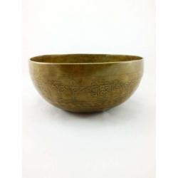 Buddha engraved singing bowl from Nepal 1000-1100 gr