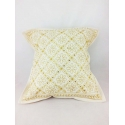 Ethnic cushion cover, white with golden details