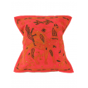 Ethnic cushion cover, red, with a camel