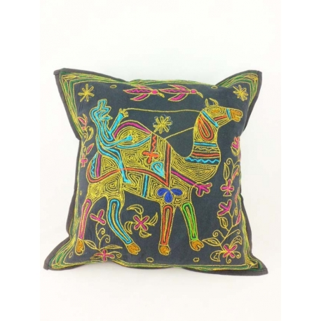 Ethnic cushion cover, black, with a camel