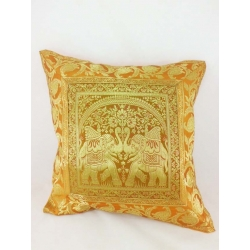 Ethnic cushion cover, orange, with figures and plant motifs