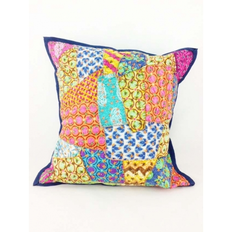 Ethnic cushion cover, vintage and patchwork style