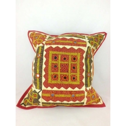 Ethnic cushion cover, brown, geometrical motifs