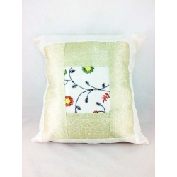Ethnic cushion cover, white, with plant motifs