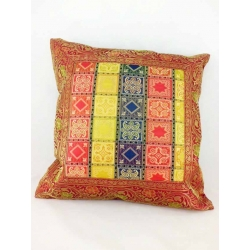 Ethnic cushion cover, in red, check motifs